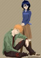 Bleach- Ichigo and Rukia by orogirl333