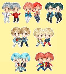 [ chibi ] BTS DNA stickers and chamrs by sleepypandie
