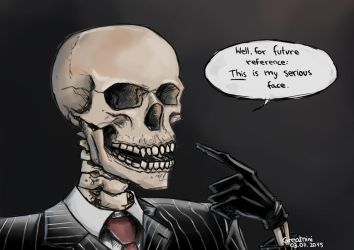 Skulduggery Pleasant 'This is my serious face' by Greatnini