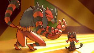 Incineroar and Litten by Presteasy
