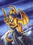 Gold Storm Dragon Acrylic by lady-cybercat