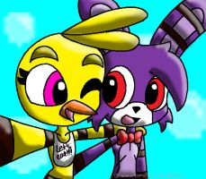 Bonnie and Chica Collab with animalcomic96 by SpookyDJ