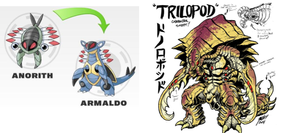 Pokemon Comparison: Anorith/Armaldo and Trilopod