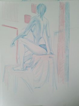 Live model drawing 20 min by EmanuelMacias