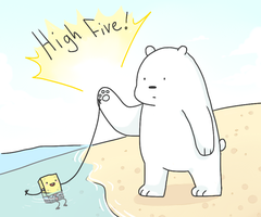 Ice bear high fives sponge by Kechuppika
