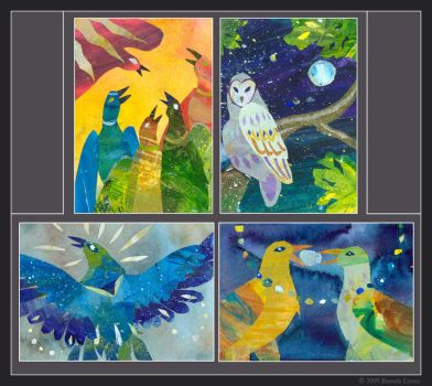 Collage Birds by windfalcon