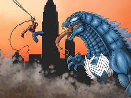 Spider-Man Vs Venom-Zilla by Jougeroth