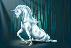 Unicorn in blue by Ananiel