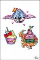 Cupcake tattoos by RayneColdkiss