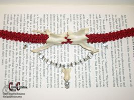 Red Vertebrae Choker by SkullGrrl