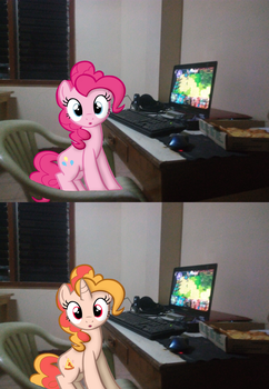 Pinkie pie and Pizza Pie playing on my laptop by Hikarisah