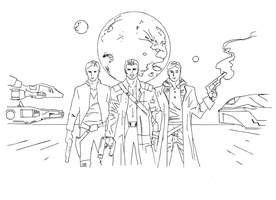 Space superheroes drawing (b/w) by electronicdave