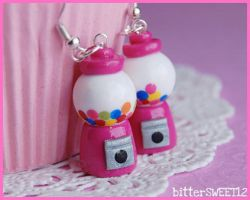 Pink Gumball Machine Earrings by bitterSWEETones