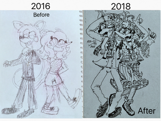 Draw This Again 2016 VS 2018 by Noturfavorite