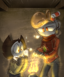 two friends by a fire by thegreatrouge