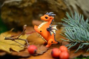Ball-jointed dragon - orange and grey by dallia-art