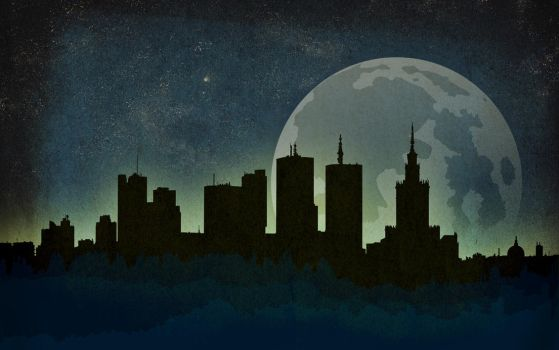 Warsaw Night Skyline Wallpaper by IxoliteFH