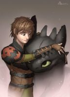 Hiccup and Toothless by andaerz