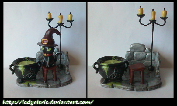 The Cat and the Cauldron - Polymer Clay (fimo) by LadyAlerie