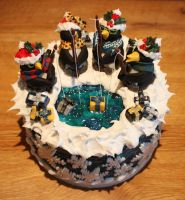 Present Fishing Penguin Christmas Cake by KatesKakes