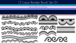 12 Lace Border Brush Set 01 by noema-13