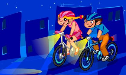 The Illustration Of Cartoon teenagers cycling at n by gekatarina