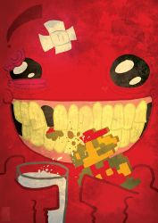Meatboy and cookie Mario by DoctorJT