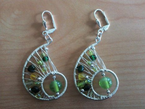silver wire wrapped earrings with green beads by syn-O-nyms