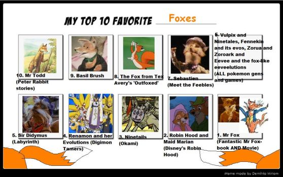 My top 10 personal favourite foxes by Roses-and-Feathers