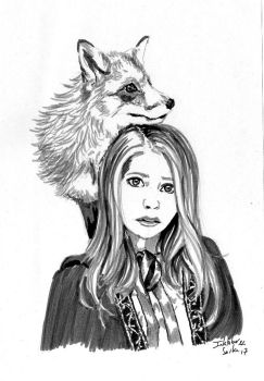 Inktober 2017 n22 - The Fox Girl by Sorka-of-Eawy