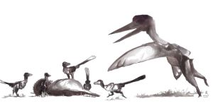 Dromaeosaurus and Quetzalcoatlus by Guindagear
