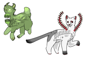 Carnivorous plant cats (1/2 open) by RaptorFeathers