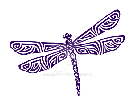 Tribal Dragonfly Tattoo by sockypoo