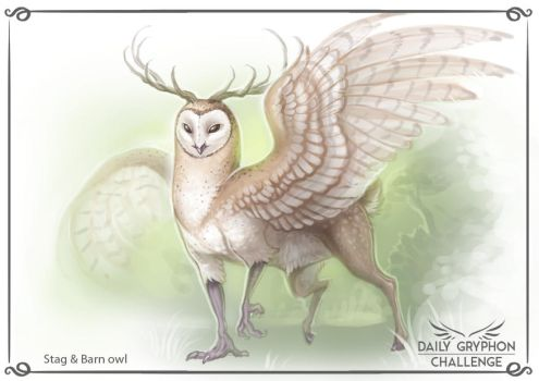 Gryphon Challenge 15 : Stag and Barn Owl by Pechschwinge