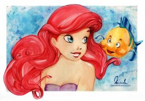 Ariel and Flounder by kleinmeli