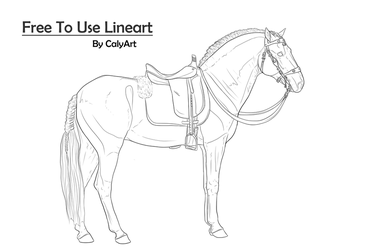 || Iberian Horse with Tack - Lineart || by CalyArt