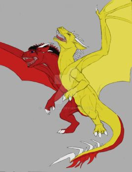 Two Headed Dragon Basic Colors by delbinfang