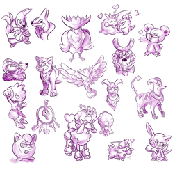 Pokemon Doodles by SquirrelKitty76