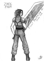 Zack Fair and Buster Sword by GoldenYume