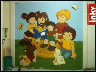 Mural of Jesus and the children by Aranir