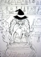 Inktober x 31 Witches Day 21 - Potion Brewer by SarahRichford
