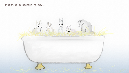 Rabbits in Bathtub of Hay by AwakeNight