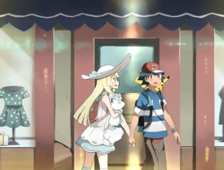 Lillie and Satoshi Holding Hands by PokemonMastermind