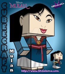 Cubeecraft of Mulan in her Saving China Dress 3D by SKGaleana