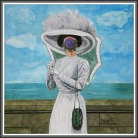 ...Magritte's' lady with violettes' by floriaiglenoir