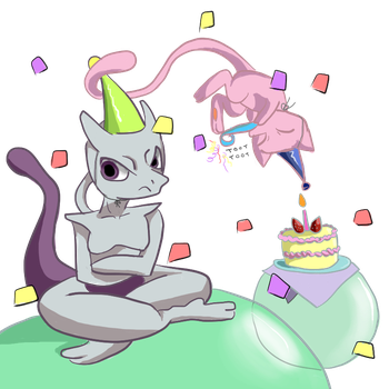 congrats on the birth, mewtwo. lmao ur old by waluouija