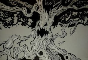 Inktober 2016 No. 14 Tree by MikeES