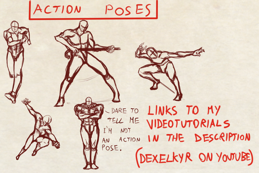 Some Complete Figure Action Poses by Dex91
