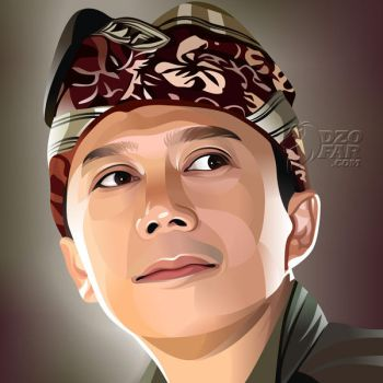 REALISTIC VECTOR: MAN with BALINESE HAT by ndop