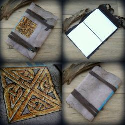 Celtic knot - leather journal by Dark-Lioncourt